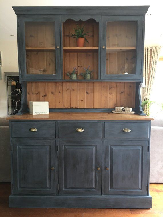 Now Sold Antique Pine Welsh Dresser Cabinet For Dining Room Or Lounge In Nordic Blue Relooker Meuble Meuble Vaisselier Et Relooking Meuble