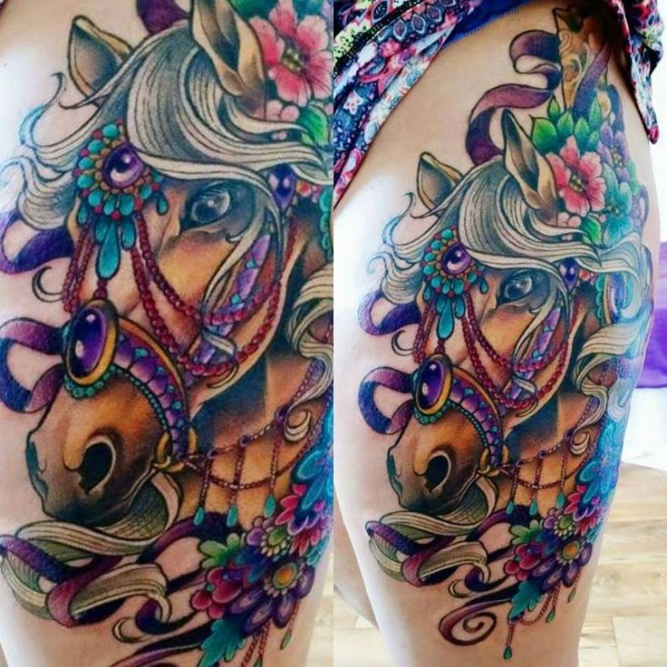 Wife's Carousel Horse thigh piece by Tiff @ Baltimore Street Tattoo Hanover PA.