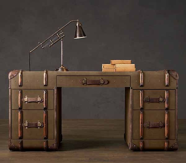 Had crafted by an antiques dealer and vintage furniture maker Timothy Oulton, oversized steamer trunk furniture and decorative accessories create luxurious and unusual rooms, filled with retro decor charm. Love this desk!: Interior Design, Restoration Hardware, Idea, Suitcase, Trunks, Desks, Trunk Desk, Steamer Trunk, Furniture