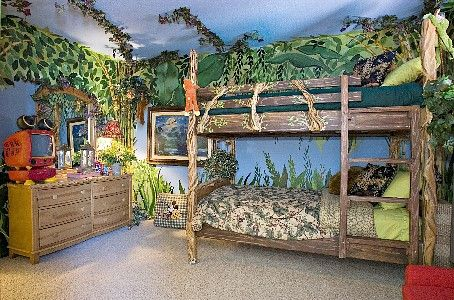 Kids will love this jungle themed bedroom in this for Jungle theme kids room