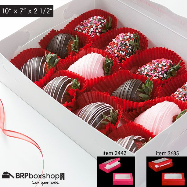 Boxes for Chocolate Covered Strawberries from BRP Box Shop. #chocolatecoveredstrawberries #strawberryboxes #brpboxshop #packaging #dippedstrawberries #boozeberries #valentinestrawberries #valentineboxes