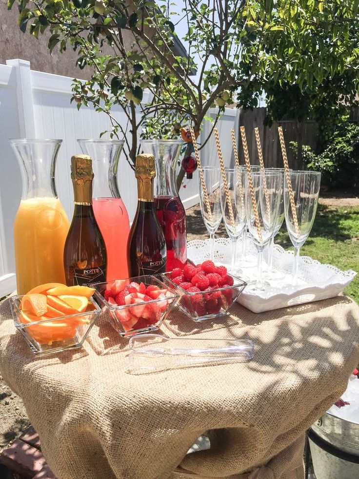 Mimosa bar at a shabby chic baptism party! See more party planning ideas at CatchMyParty.com!