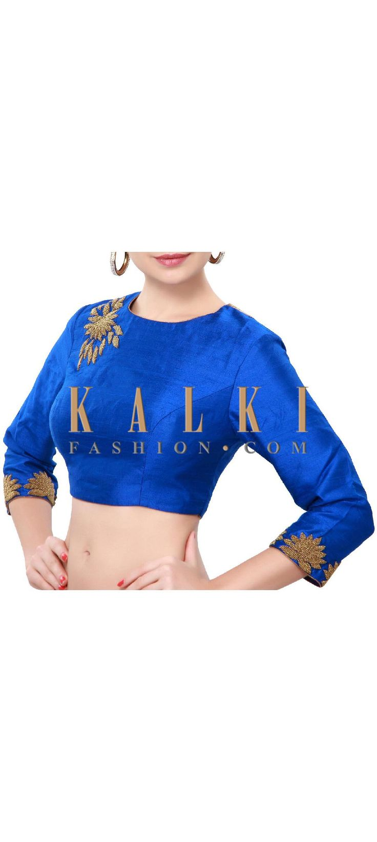 Buy Online from the link below. We ship worldwide (Free Shipping over US$100). Product SKU - 316832. Product Price - $149.00. Product Link - http://www.kalkifashion.com/blue-blouse-adorn-in-moti-embroidery-only-on-kalki.html
