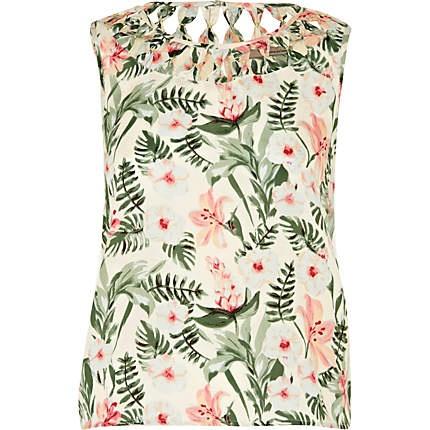 RIVER ISLAND cream floral print sleeveless top - £20