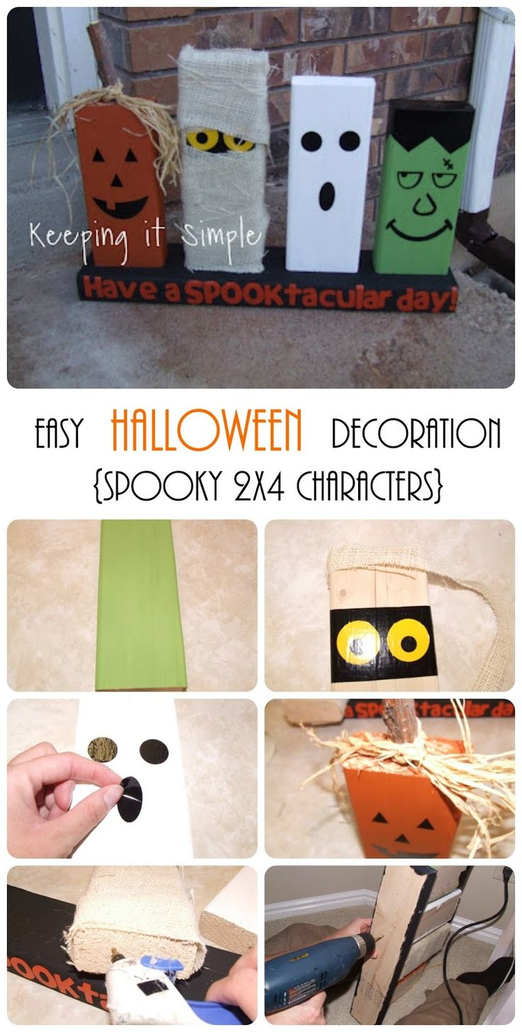 Super easy and fun Halloween decoration idea using 2x4s, paint and vinyl.  Halloween 2x4s