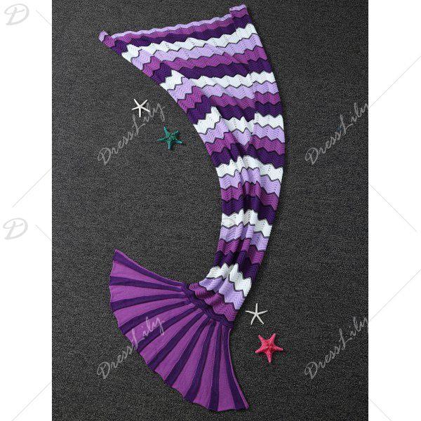 Super Soft Wave Pattern Knitting Mermaid Tail Blanket, PURPLE, L in Blankets & Throws | DressLily.com