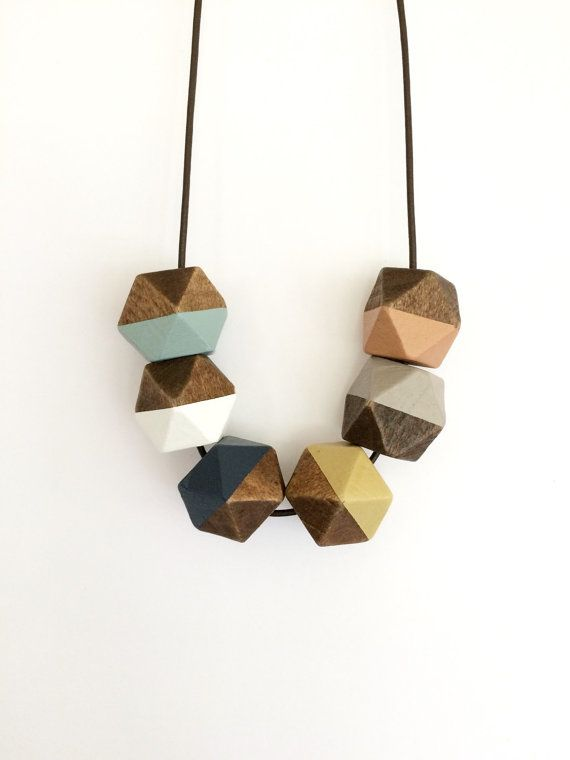 Hand painted geometric wooden bead necklace/ statement necklace/ color block/ faceted/ gift for her/ peach/ autumn/ blue/ mustard/ white
