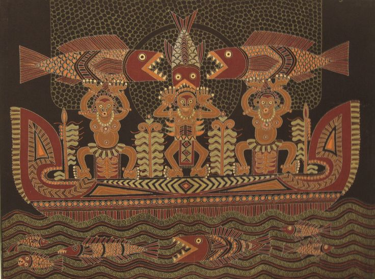 Modern batik painting depicting a papua boat. The colors are dark green, russet and brown on a black background, Indonesia. Museon, CC BY