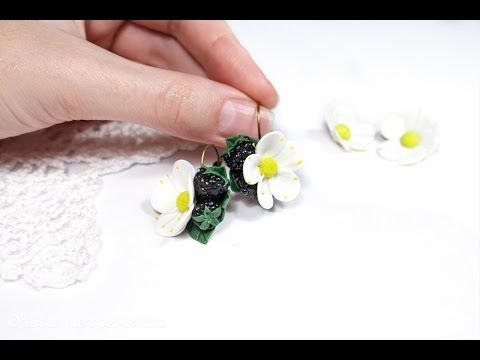 Making earrings with blackberries from polymer clay Fimo - YouTube