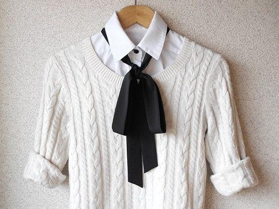 Black Bow Tie Scarf / Classic Styling Women Neck Accessory / Narrow Necktie Ascot Scarf