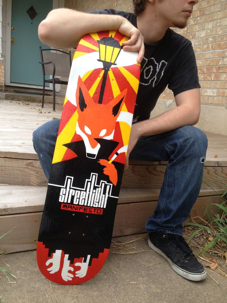 Glamor shots of my Streetlight Manifesto skateboard. My model is Andrew, the friend I gave the board to as a gift. :)