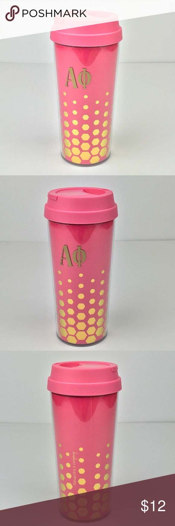 Alpha Phi Pink Gold Insulated Coffee Mug Tumbler Brand New  Officially Licensed  Alpha Phi Travel Coffee Cup  Pink with Gold Dots  Please see photos and ask any questions prior to purchasing.   Multiple available, message me if you'd like to make a bulk order for your sisters! :)  Check out my closet for additional Alpha Phi items. Bundle multiple listings for a private offer! Accessories