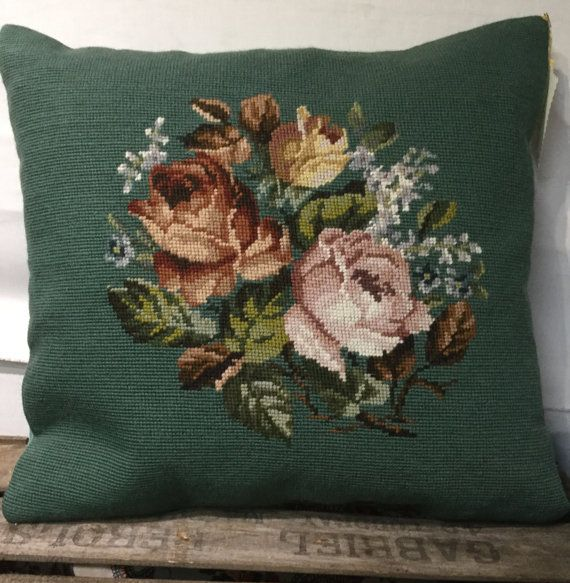 Antique needlepoint cushion, pillow, green, floral, vintage, hand embroidered