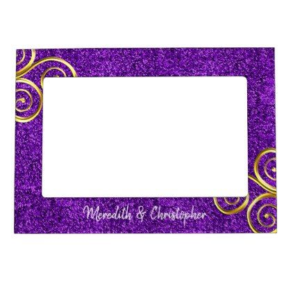 Purple Glitter Gold Swirls Wedding Magnetic Picture Frame Magnetic