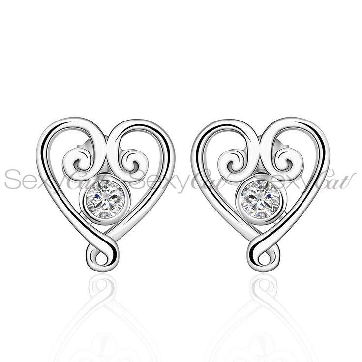 E579 Cubic Zirconia Crystal Fashion Jewelry Sterling Silver Jewelry Wedding Silver Earrings Stud For Women
