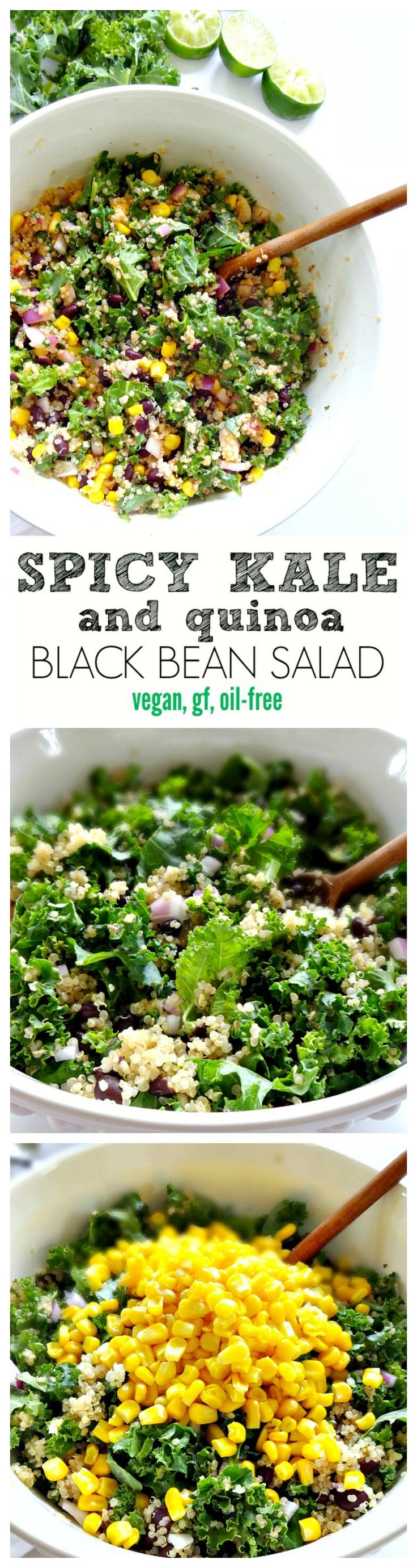 Salad Recipe: Spicy Kale & Quinoa Black Bean Salad #vegan #recipes #healthy #plantbased #glutenfree #whatveganseat #salad