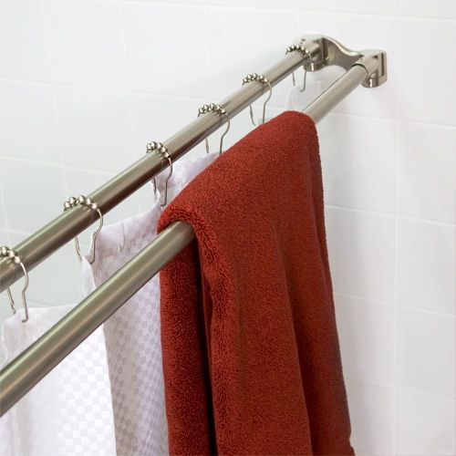 Find This Pin And More On Curtain Bars All Types By Luxuriahardware.  Straight Double Shower Curtain Rod ...