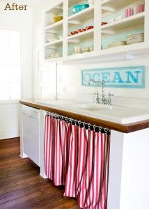 Kitchen With Open Shelving And Curtain In Front Of Sink By Kevin Layla Palmer At The Lettered Cottage Home Faucet