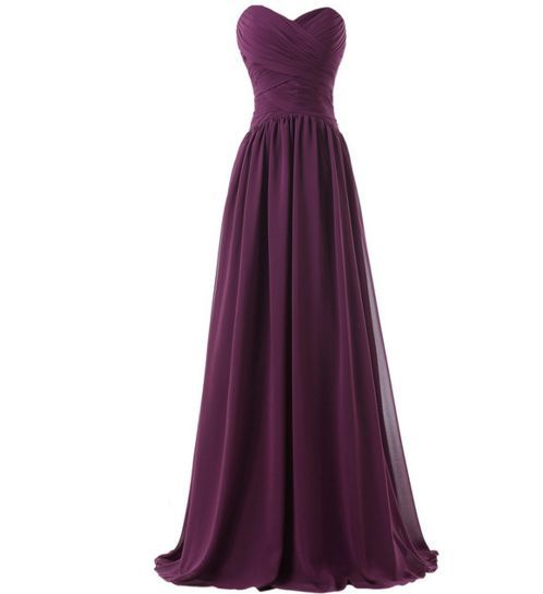 Simple Purple Chiffon Sweetheart Long Bridesmaid Dresses 2016, Simple Party Dresses, Prom Gowns, Bridesmaid Dresses