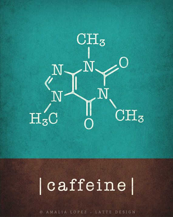 Caffeine & chocolate molecules Set of 2 prints. Caffeine print coffee print caffeine molecule coffee lover gift coffee gift science gift – Najat Alabsi