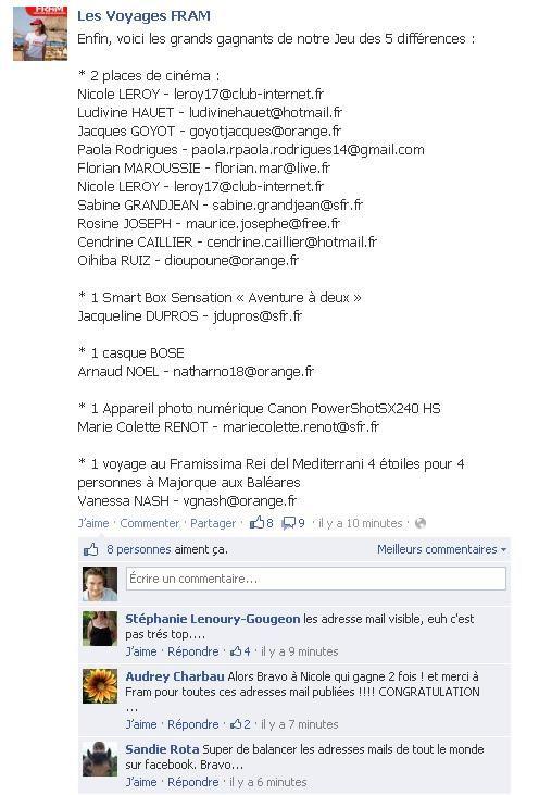 Fail de CM : donner les noms et adresses mails des gagnants en clair sur sa page FB