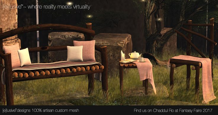 https://flic.kr/p/TV9t28 | {e}lusive Designs Darkwood Garden Set | This Garden Set was custom designed specifically for Fantasy Faire 2017! With wonderful relaxing poses, for men and women, it is sure to be a delight in any garden or role play community. Come find us on Chaddul Ro! See you there!!!  Items are between 1 and 5 LI  Comes in 4 wood colors, and 3 cloth colors, perfect for matching your decor.