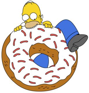 Homer Simpson eating a giant donut.