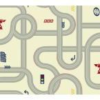 Walt Disney Kids II Road Wallpaper, Ivory/Grey/Red/Yellow/Black/Blue