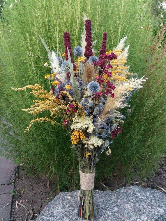 Americans put red, white, and blue flowers in patriotic plantings, but flowers in these colors have other uses, be they annual, perennial, or shrub. Dried Flower Arrangement Pampas grass amaranth and thistle