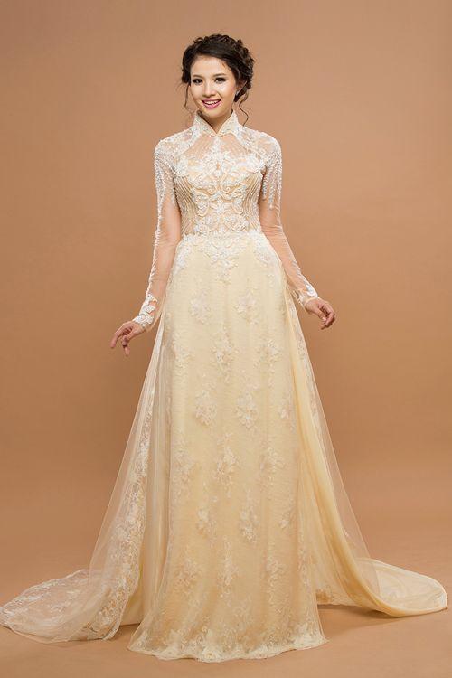 Áo dài cưới hồng da cho tân nương xinh đẹp