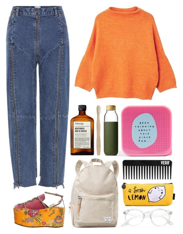 """""""6.714"""" by katrinattack on Polyvore featuring Vetements, Gucci, MANGO, Herschel Supply Co., Topshop, Soma, Aesop, airport, airportfashion and airportstyle"""