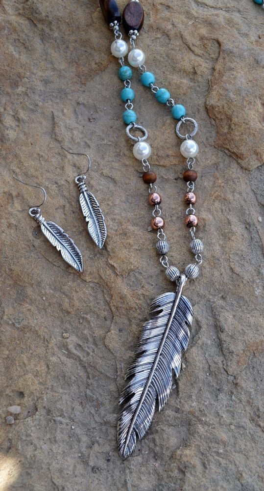 "Cowgirl Bling 30"" Necklace Set FEATHER beads turquoise GYPSY BOHO trendy #Unbranded"