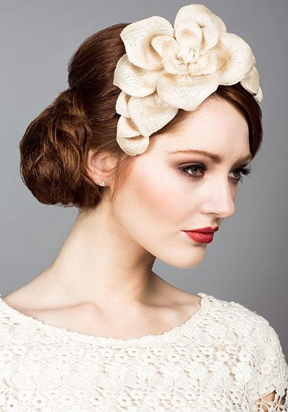 Rachel Trevor Morgan, S/S 2014. Natural fine straw petal Alice band. Millinery, hats, fascinator. hair decoration with flowers.