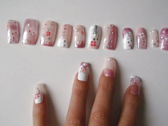 stile giapponese 3d unghie finte rosa pastel goth press on nail art unghie artificiali cosplay glitter rosa lolita squadrate lasoffittadiste