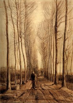 Vincent van Gogh, avenue of poplars. My folks have had this print hanging in some room of their home for as long as I can remember.