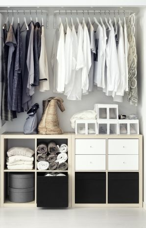 In a reach-in closet, KALLAX converts floor space (often cluttered) into organized storage for folded clothing or linens. Storage units easily become dressers for accessories and undergarments with the addition of optional drawers and bins.