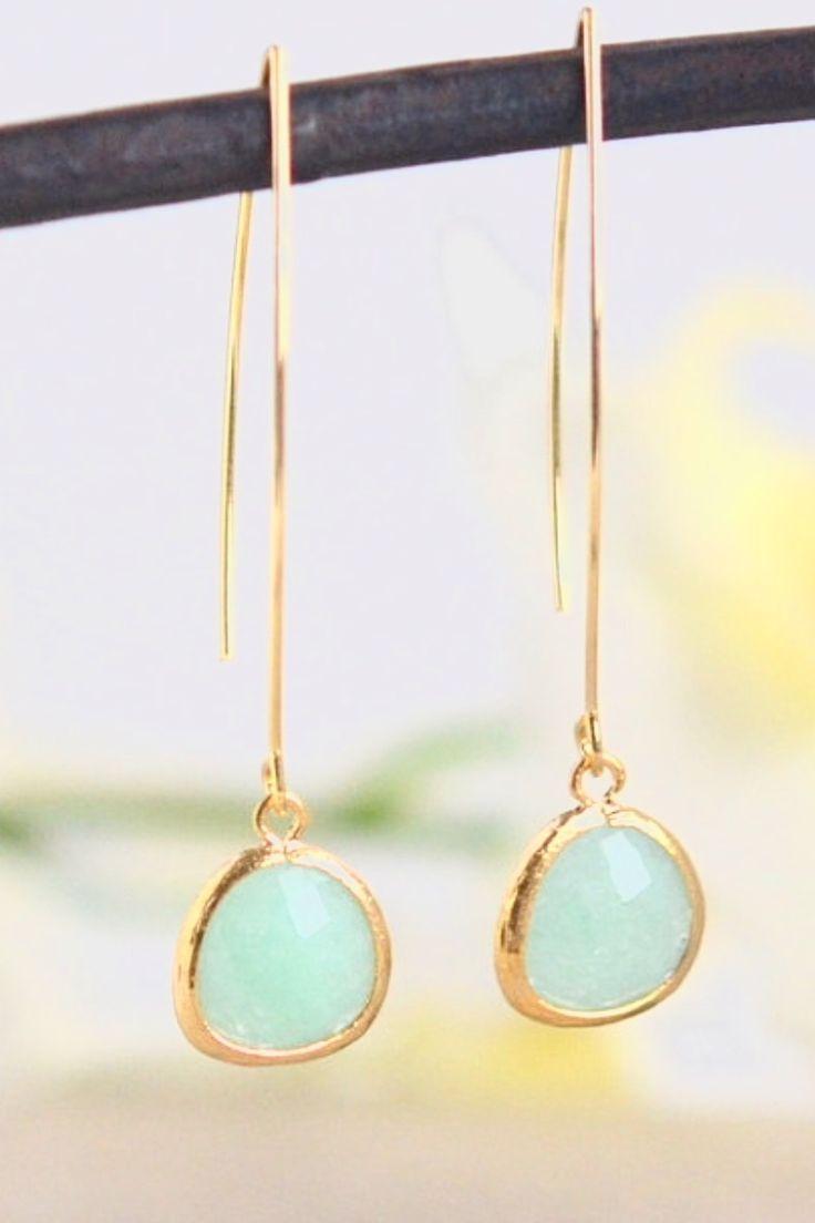 Simple Mint Jade Drop Earrings. Dangle Earrings. Long Drop Earrings. Simple…