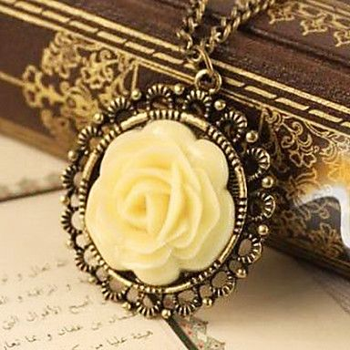 Retro nostalgia roses long sweater chain necklace N84 – USD $ 1.19