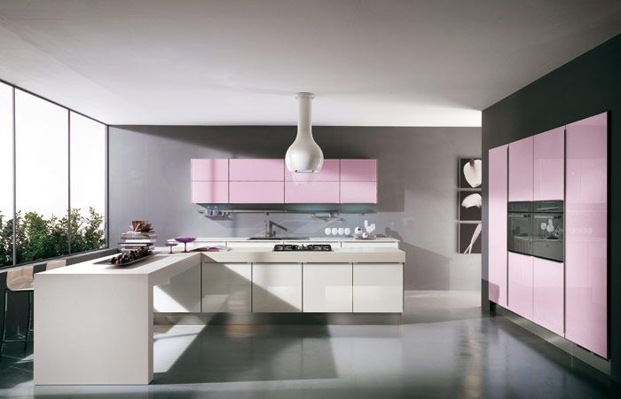 Katia Cool Grey And Pink Kitchen With Unique Light Fitting And White Cabinet All In 2 Pack