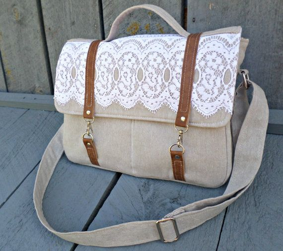 "Messenger bag, READY TO SHIP,13"" laptop bag, back to school, womens bookbag, linen bag, school bag, vintage lace purse, book bag for school ♡"
