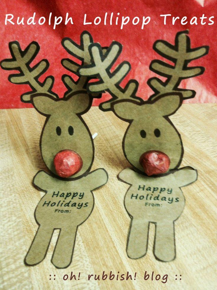 Rudolph Lollipops :: DIY :: FREE PRINTABLE :: Just print, wrap & add Dum Dums Lollipops :: Christmas Classroom Treats :::: oh! rubbish! blog