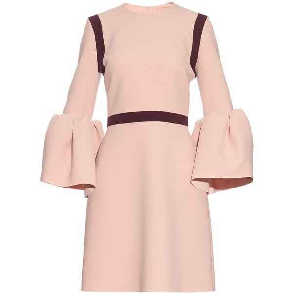 Roksanda Hadari bell-sleeved stretch-cady dress found on Polyvore featuring dresses, light pink, stretch dress, bell sleeve dress, pink embellished dress, colorblocked dress and colorblock dress