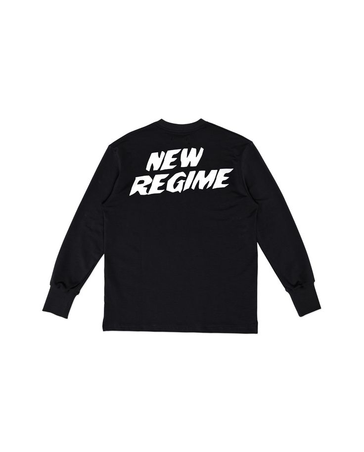 Atelier New Regime logo long sleeve in black with signature New Regime logo print in white at back. #ateliernewregime #newregime #FW16