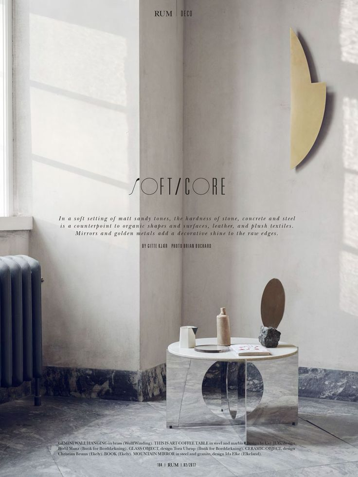 Exclusive and edgy styling from RUM Magazine international edition. Our Gemini wall art in brushed brass balances the room. Could be yours too. Visit www.wulffwinding.com