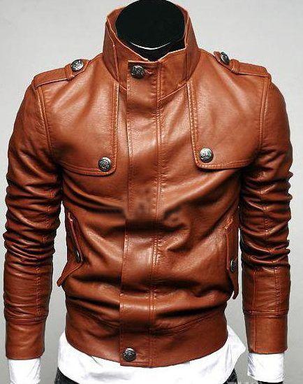 Handmade men slim fit leather jacket,leather jacket for