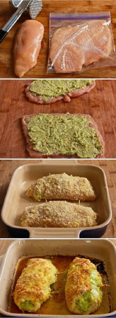 Baked Chicken Stuffed with Pesto and Cheese Recipe By Cupcakepedia, dinner, chicken, food, pesto