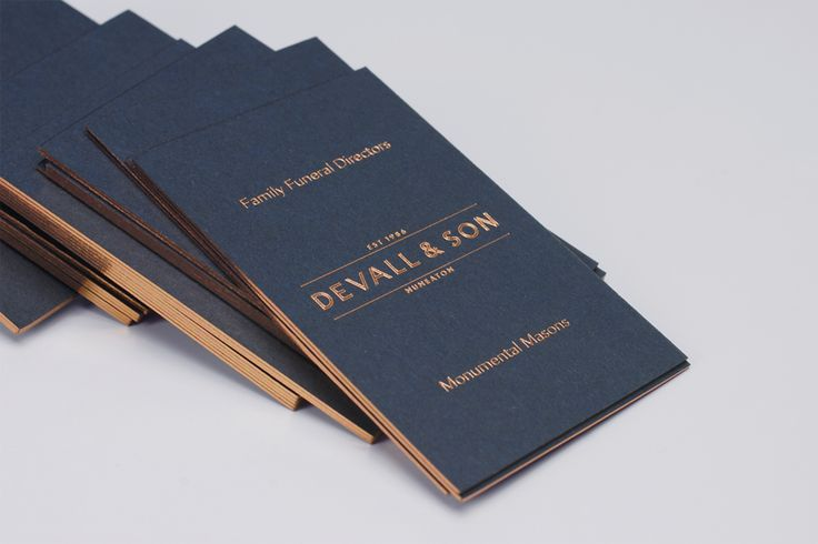 Logotype and business cards with copper foil and edge painted detail by Parent for funeral director Devall & Son
