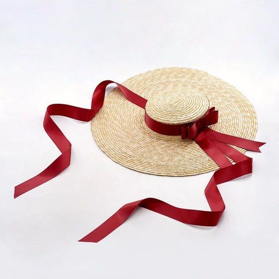 The European And American Designer Duds Large Eaves Flat Straw Hat Ribbon Bowknot Seaside Holiday Beach Hat In The Summer Of Female Boater Hat Straw Boater Boater Hat Women