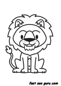 Print Out Jungle Animal Lion Coloring Pages