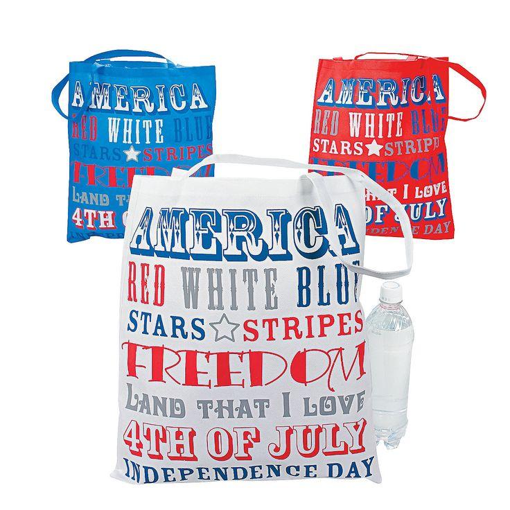 Large Patriotic Word Tote Bags - OrientalTrading.com